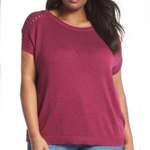 Sejour Pink Crochet Shoulder Top - 1X
